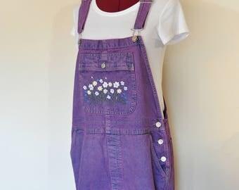 Pink XL Bib OVERALL Capri Pants - Fuchsia Pink Dyed Cherokee Cotton Denim Overalls - Adult Womens Size Extra Large (40 Waist)