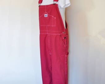 Red Mens Medium Bib OVERALL Pants - Cherry Red Dyed NEW Rugged Blue Cotton Denim Overalls - Adult Mens Womens Medium (38 w x 31 L)