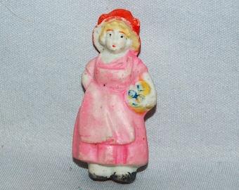 Frozen Charlotte Bisque Doll /  Pink Dress / Girl / Vintage / penny doll / Vintage Dolls