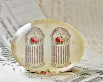 Salt and Pepper Shakers from our Vintage Kitchen collection of handmade horizontal glass cabochons, 40x30mm oval, baking, cook, culinary art