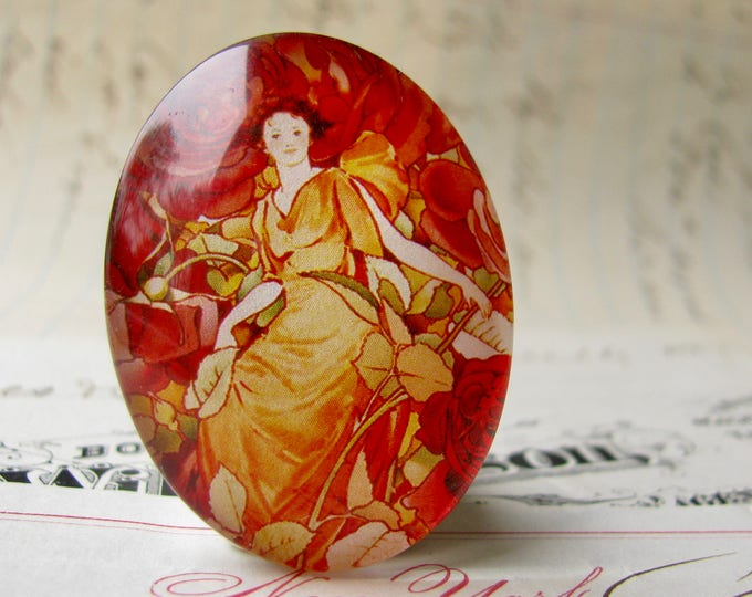 """Red """"Dream Roses"""" calendar page, 40x30 or 25x18, handmade glass oval cabochon in this shop, woman sitting in flowers, Art Nouveau collection"""