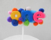 One First Birthday Cake topper Celebration Party Multi Color Rainbow  Bobble 1st birthday