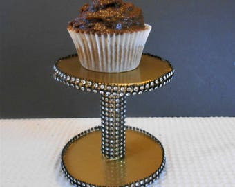 Individual Cupcake Cake Stand Black and Gold Wedding Birthday  Party Decoration