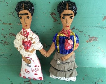 Two Fridas Set - Frida Kahlo Art - Frida Kahlo Art Doll - Mexican Folk Art Inspired - Folk Art Doll - Frida Kahlo