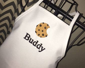 Cookie Apron, Personalized Embroidery, Chocolate Chip Cookie Apron, Apron with Name, Birthday Party Favor, Birthday Gift, Chef Apron