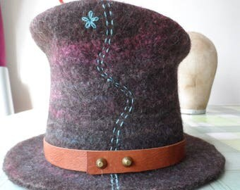 Felted Mad Hatter Top Hat -  Your Colour Choice - The SLiDER - MADE TO ORDER