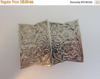ON SALE Pretty Vintage Stamped Tin Belt Buckle