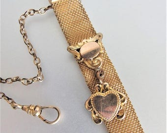 ON SALE Antique 10K Gf Mesh Watch Fob Chain