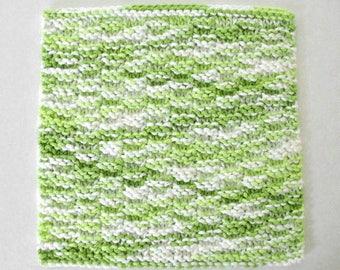 Knit Dishcloth Cotton Washcloth Lime Green Kitchen Decor Dish Wash Cloth
