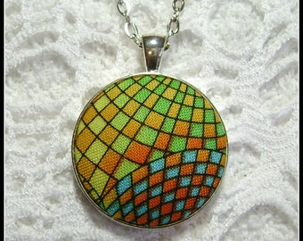 Fabric Pendant - Artsy Jewelry - Fiber Art - FP59
