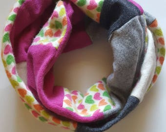Cashmere Recycled Sweater Infinity Mobius Scarf with Hearts