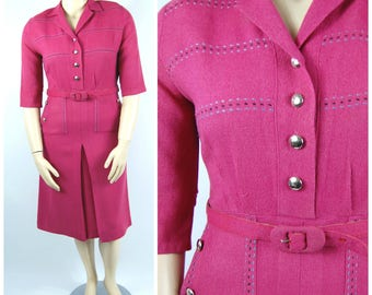 Late 1940s Raspberry Dress // Blue Black and Pink Hip Pockets - Straight Skirt Shoulder Pads - Great Details