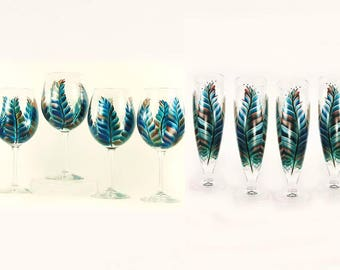 Mix and Match Stemware 8x - Southwest Feathers in Turquoise, Copper, Silver - Choice of Glassware, Personalized Wedding Host Gift Ideas