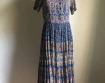 SUMMER SALE 70s Indian Vintage Dress • Cotton Dress • Free Size Dress • Gauze Cotton Dress