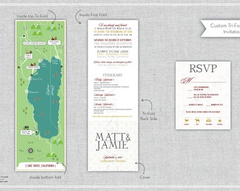 Custom Wedding Map with Itinerary, Wedding Map Invitation -- Lake Tahoe (Tri-fold)