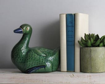 bookcase art - Home décor - Duck  – cabin decor -ceramic – mid century