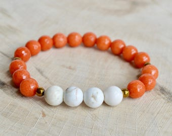 Orange and White Jade Bracelet