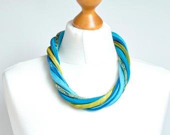TURQUOISE necklace, textile necklace, FABRIC necklace, fabric jewelry, gift ideas, summer accessories, fashion accessories, statement