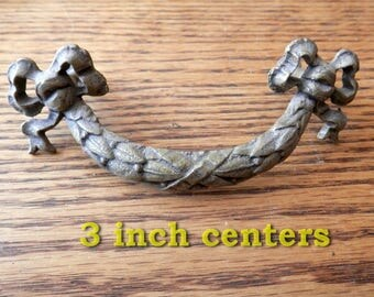 One (1) antique, cast brass fixed handle vintage original federal style drawer pull 3 inch centers