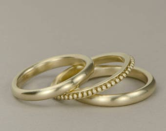 Gold stackable rings 10K yellow gold band rings Etruscan granulation style detail, smooth matte finish simple everyday gold rings- set of 3