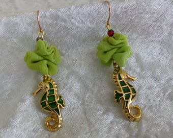 silk crepe and seahorse earrings
