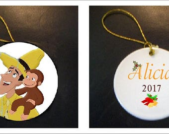 Curious George With Man in Yellow Hat Christmas Ornament PERSONALIZED