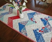 "Patriotic Chevron Quilted Table Runner - 16"" x 40.5"" - Star Spangled Table Quilt - Quilted Topper - Fourth of July 4th - Independence Day"