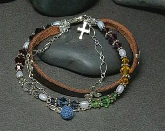 Boho Style Bracelet | Lava Bead Charm | Leather Bracelet | Sterling Silver Bracelet | Swarovski Crystal Bracelet | Salvation Story | Trinity