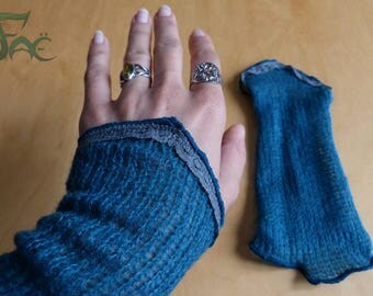 Blue arm warmers with grey lace