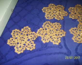 Set of five (5) gold snowflakes