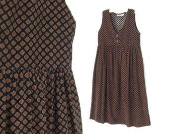 90s jumper dress * vintage corduroy jumper dress * foulard apron dress * large