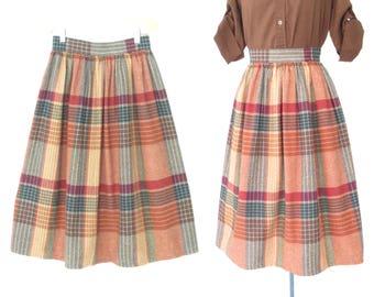 vintage plaid skirt * campus skirt * 80s midi skirt * xs