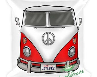 VW Bus Pillow Red Volkswagen Camper Van Square Pillow - VW Accent Couch Cushion - Gift Idea for Car Lovers - Auto Home Decor - Gift for Dad
