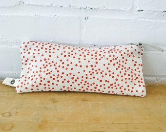 Orange Polka Dot pencil zip, Ready To Ship Now