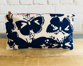 Navy butterfly make-up bag