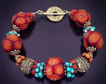 Handcrafted Glass Bead Bracelet