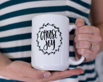 CHOOSE JOY Coffee Mug, Cute Coffee Mug, Coffee Cup, Joy Mug, Mugs with Sayings,  Coffee Mugs, Cellar Designs Mugs, Gift for her