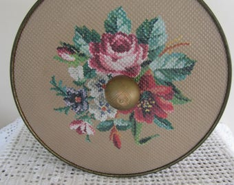 Vintage Tin with Needle Point Design Wood Knob Handle Guildcraft Large Floral Tin