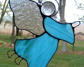 Stained Glass Aqua Angel Sun Catcher