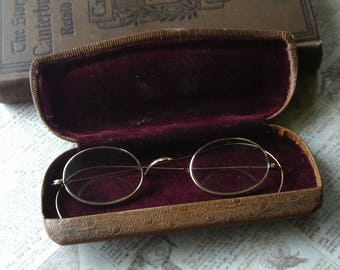 Antique Spectacles with Case, 1800's, Early 1900's, Gold Eyeglasses