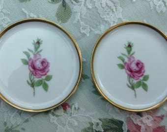 Vintage Rose Plate Set, White with Pink Rose and Gold Rim, Made in West Germany, Small Plate, Vintage Porcelain, Vanity Decor, Shabby  Chic