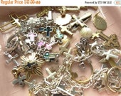 Sale 30% Off Vintage Jewelry Destash Lot. Cross Findings. Tiny Cross Charms TM Saint Vintage Pendants.  Charms. D14