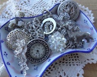Vintage Jewelry - Findings - Lot - Costume Jewelry Parts - Rhinestone Destash - Pearl Jewelry - Wiener Dog Charm - D226