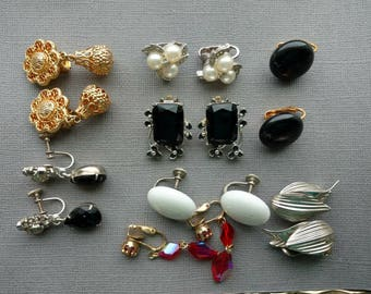 Clip On Earring Lot - Vintage Craft Lot- Jewelry Lot - Black Gold - White Cluster- Earrings for craft - clip earrings - D149