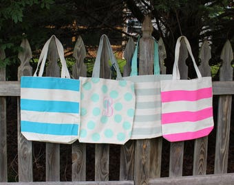 Monogramed Summer Beach Tote, Bridesmaid Tote, canvas tote bag, personalized, great gift for teachers, bridesmaids or baby showers