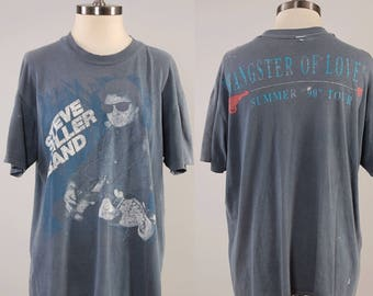Vintage 80s 90s Steve Miller Band faded black tour t shirt / Gangster of Love 1990 tour / Distressed faded t shirt