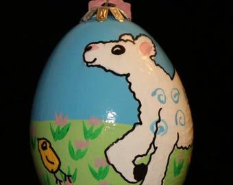 Hand decorated Blown Goose Egg Ornament (Lamb)