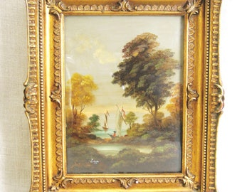 Antique Landscape Painting On Copper Panel, Boats, Italian, Rococo, Original Fine Art, Framed, Gilt Frame, Ornate, Hand Painted, Nature