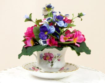 Royal Albert China Cup Flower Arrangement, Spring Arrangement, Tea Cup Flower Arrangement, Tea Cup Centerpiece, Floral Centerpiece