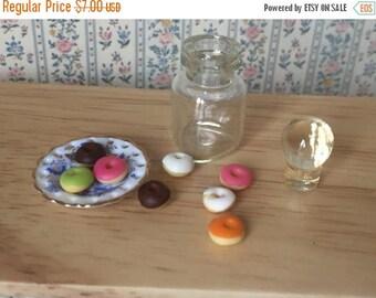 ON SALE Miniature Donuts in Glass Jar, Dollhouse 1:12 Scale Miniature, Dollhouse Food, Mini Donuts, Miniature Food, Play Food, Dollhouse Kit